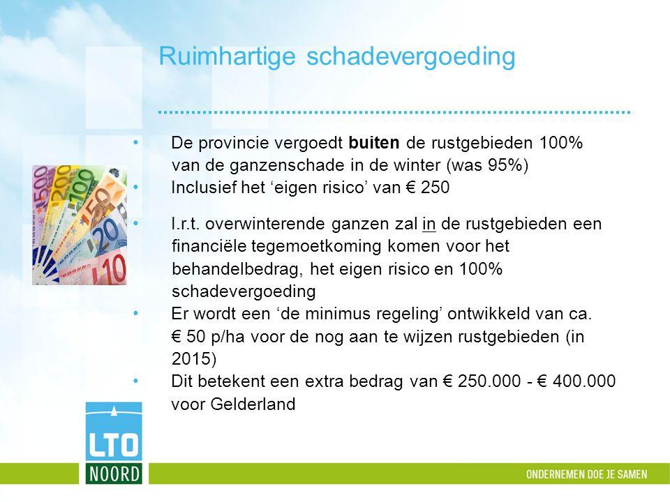 Ruimhartige schadevergoeding De provincie vergoedt buiten de rustgebieden 100% van de ganzenschade in de winter (was 95%) Inclusief het 'eigen risico'