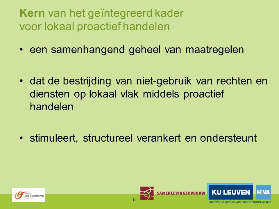 Kern van het geïntegreerd kader voor lokaal proactief handelen een samenhangend geheel van maatregelen dat de bestrijding van niet-gebruik van rechten en diensten op lokaal vlak middels proactief handelen stimuleert, structureel verankert en ondersteunt 10