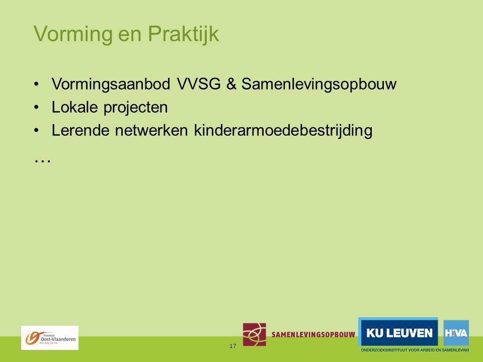 Vorming en Praktijk Vormingsaanbod VVSG & Samenlevingsopbouw Lokale projecten Lerende netwerken kinderarmoedebestrijding … 17