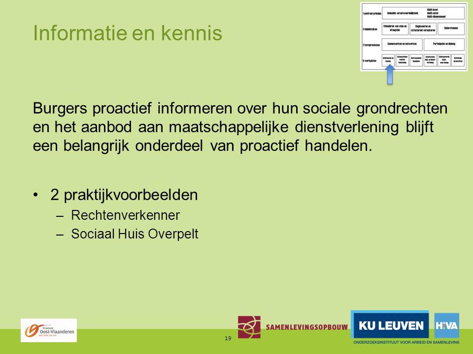 Informatie en kennis Burgers proactief informeren over hun sociale grondrechten en het aanbod aan maatschappelijke dienstverlening blijft een belangrijk onderdeel van proactief handelen.
