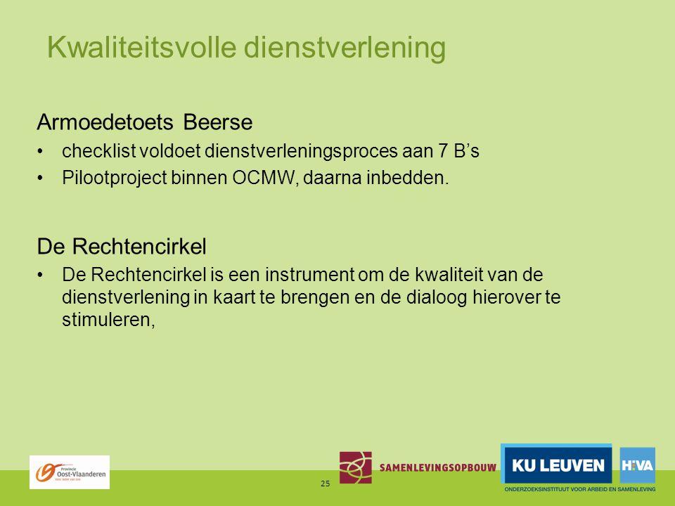 Kwaliteitsvolle dienstverlening Armoedetoets Beerse checklist voldoet dienstverleningsproces aan 7 B's Pilootproject binnen OCMW, daarna inbedden.