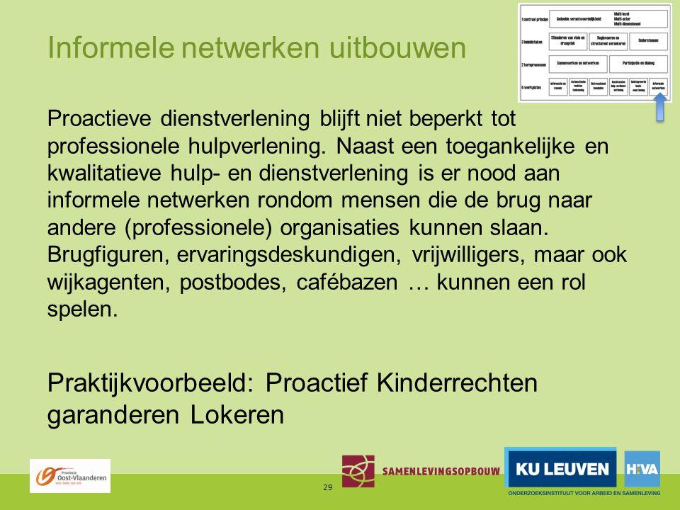 Informele netwerken uitbouwen Proactieve dienstverlening blijft niet beperkt tot professionele hulpverlening.