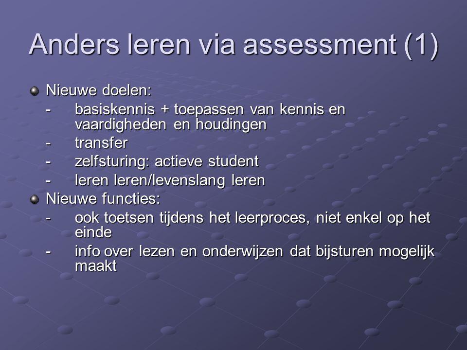 Anders leren via assessment (2) Nieuwe methoden: -portfolio -self-, peer- en co-assessment -casustoets of –examen -reflectie en feedback -authentieke assessments/levensechte situaties Nieuwe evaluatoren: -student actief betrekken bij ontwerpen en uitvoeren van toetsen