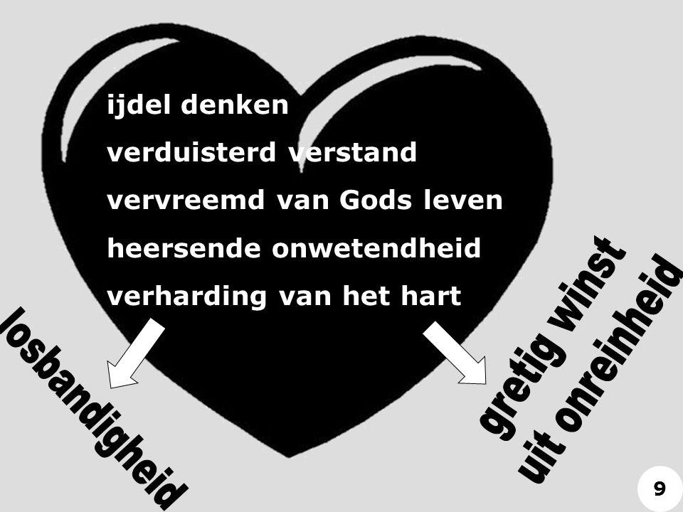 ijdel denken verduisterd verstand vervreemd van Gods leven heersende onwetendheid verharding van het hart 9