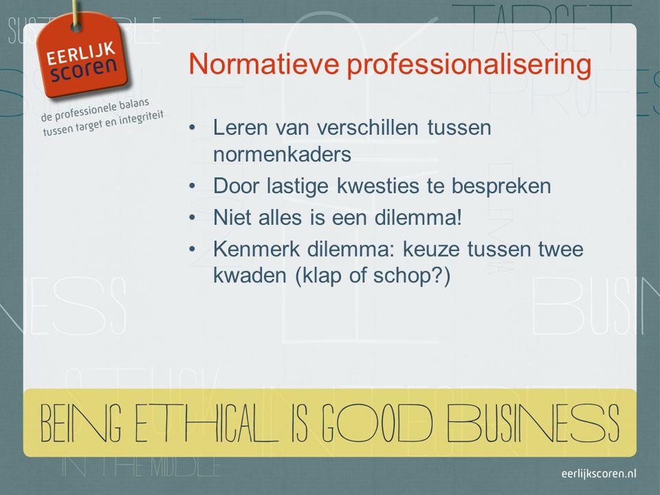 Normatieve professionalisering Leren van verschillen tussen normenkaders Door lastige kwesties te bespreken Niet alles is een dilemma.