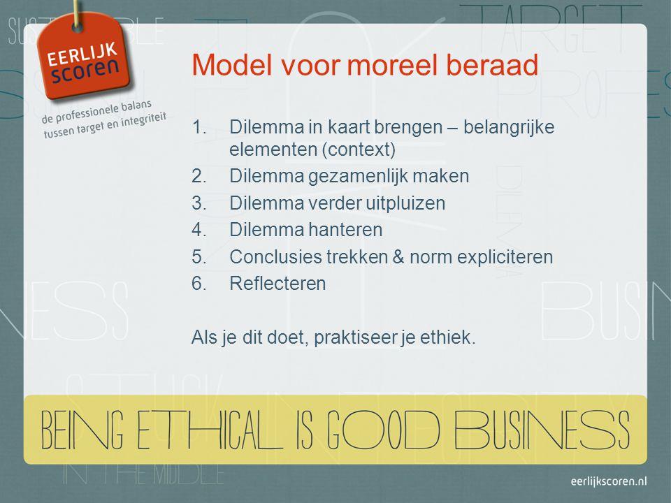 Model voor moreel beraad 1.Dilemma in kaart brengen – belangrijke elementen (context) 2.Dilemma gezamenlijk maken 3.Dilemma verder uitpluizen 4.Dilemma hanteren 5.Conclusies trekken & norm expliciteren 6.Reflecteren Als je dit doet, praktiseer je ethiek.