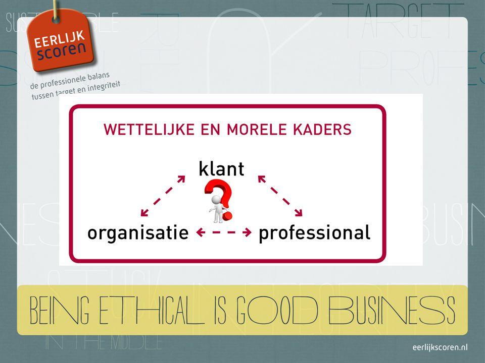 Normenkaders Je persoonlijke normen & waarden als professional Normen van je klant Normen die samenhangen met je beroep Normen van organisatie waar je werkt Samenleving waarbinnen je werkt en leeft Bron: Van den Ende, 2007