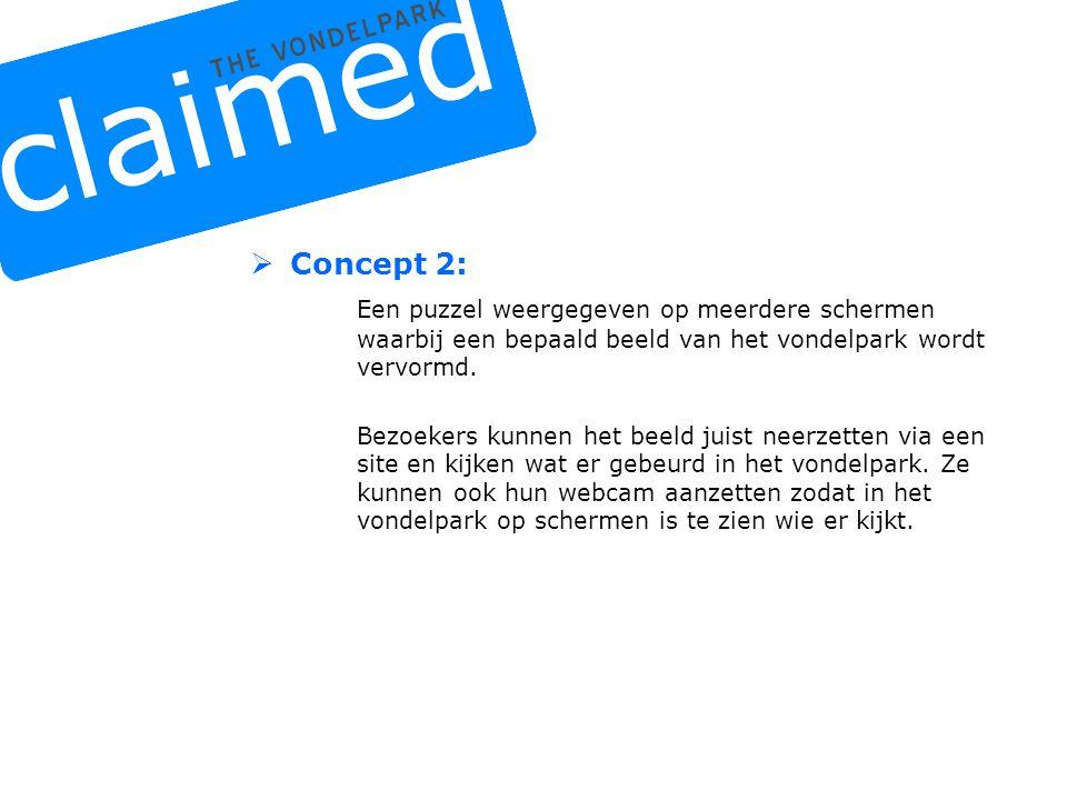  Concept 3: De gebruiker kan zijn eigen vondelpark creëren via een internet website.