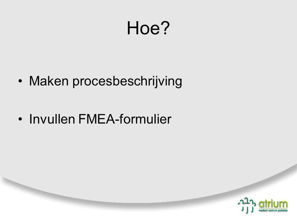 Hoe? Maken procesbeschrijving Invullen FMEA-formulier