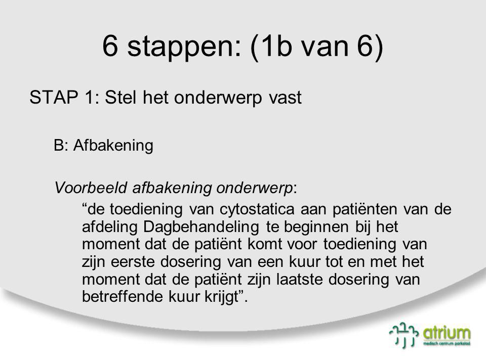 "6 stappen: (1b van 6) STAP 1: Stel het onderwerp vast B: Afbakening Voorbeeld afbakening onderwerp: ""de toediening van cytostatica aan patiënten van d"