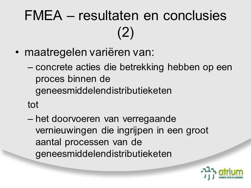 FMEA – resultaten en conclusies (2) maatregelen variëren van: –concrete acties die betrekking hebben op een proces binnen de geneesmiddelendistributie