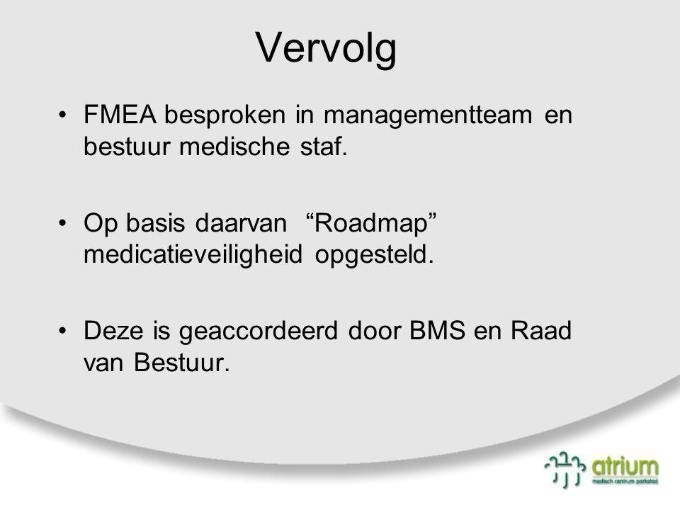 """Vervolg FMEA besproken in managementteam en bestuur medische staf. Op basis daarvan """"Roadmap"""" medicatieveiligheid opgesteld. Deze is geaccordeerd door"""