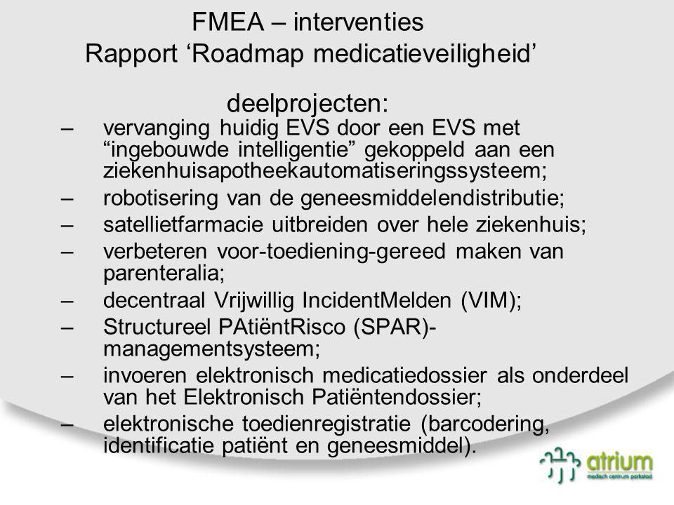"""FMEA – interventies Rapport 'Roadmap medicatieveiligheid' deelprojecten: –vervanging huidig EVS door een EVS met """"ingebouwde intelligentie"""" gekoppeld"""
