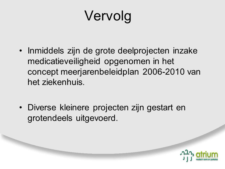 Vervolg Inmiddels zijn de grote deelprojecten inzake medicatieveiligheid opgenomen in het concept meerjarenbeleidplan 2006-2010 van het ziekenhuis. Di
