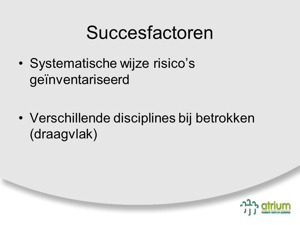 Succesfactoren Systematische wijze risico's geïnventariseerd Verschillende disciplines bij betrokken (draagvlak)