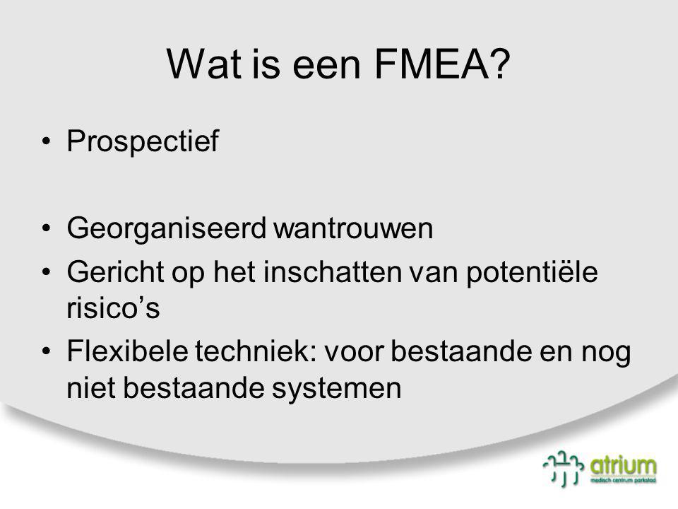 Wat is een FMEA? Prospectief Georganiseerd wantrouwen Gericht op het inschatten van potentiële risico's Flexibele techniek: voor bestaande en nog niet