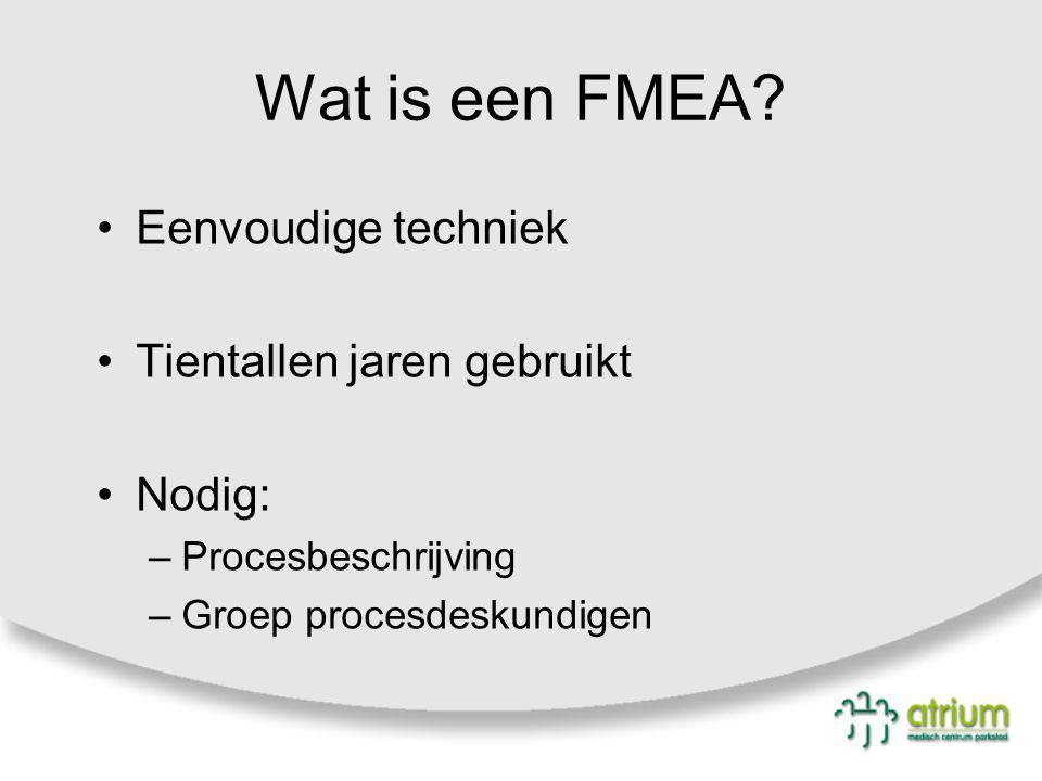 Wat is een FMEA? Eenvoudige techniek Tientallen jaren gebruikt Nodig: –Procesbeschrijving –Groep procesdeskundigen