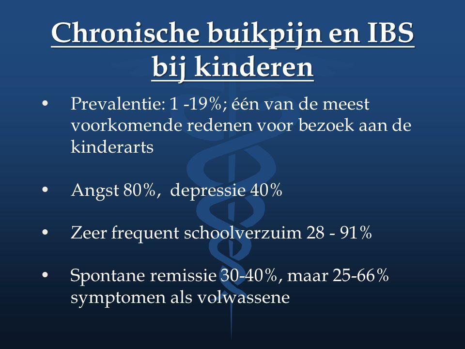 Chronische buikpijn en IBS bij kinderen Prevalentie: 1 -19%; één van de meest voorkomende redenen voor bezoek aan de kinderarts Angst 80%, depressie 4