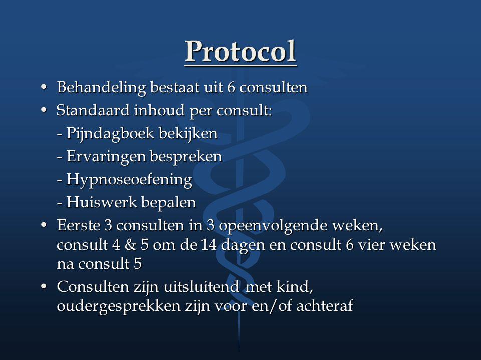 Protocol Behandeling bestaat uit 6 consultenBehandeling bestaat uit 6 consulten Standaard inhoud per consult:Standaard inhoud per consult: - Pijndagbo