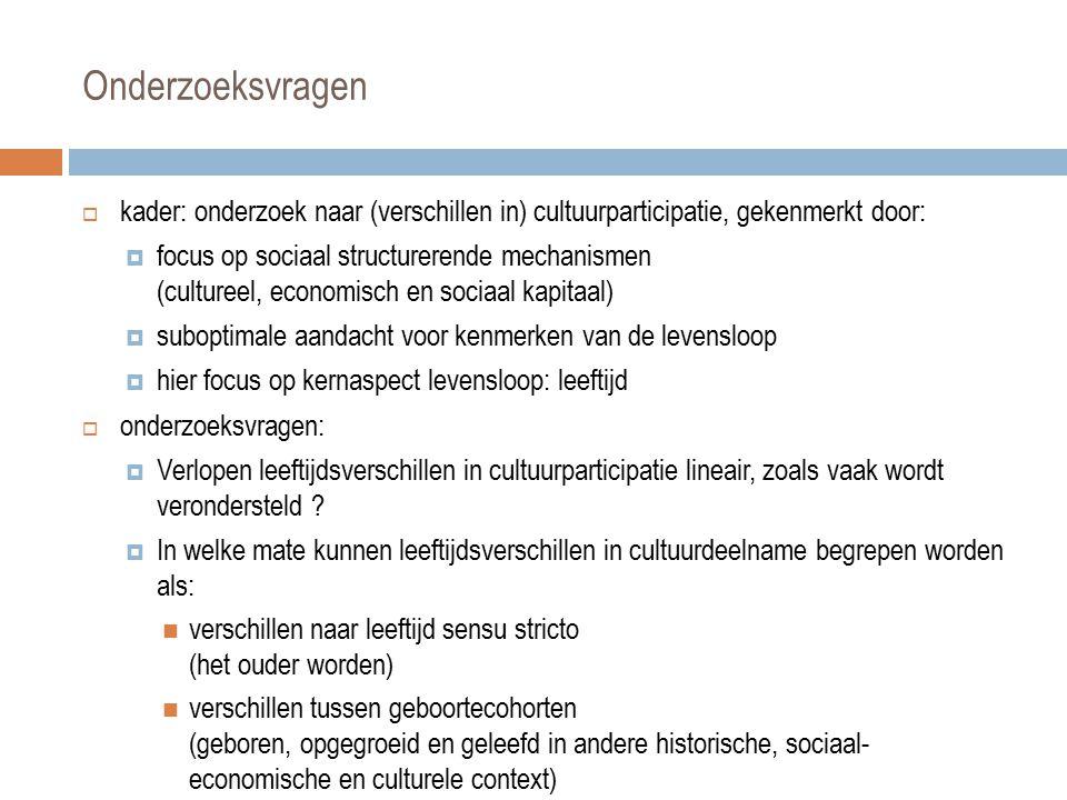 Data: SCV-surveys 1996-2008  SCV-surveys: in Vlaanderen unieke dataset om onderzoeksvragen te beantwoorden: door lange reeks (1996-2008), gelijkaardige bevraging, van deelname aan culturele activiteiten, mogelijk om leeftijds- en cohorteverschillen te ontrafelen  door geboortecohorten in de tijd te volgen, naarmate ze ouder worden, via opeenvolgende cross-sectionele surveys + geaggregeerd: algemeen leeftijdseffect