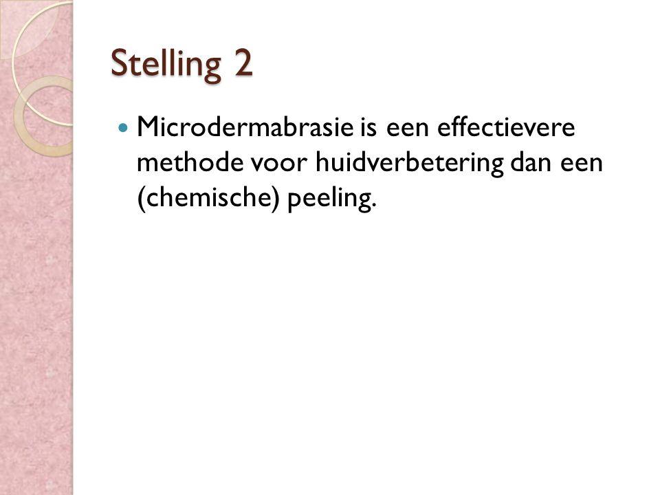 Stelling 2 Microdermabrasie is een effectievere methode voor huidverbetering dan een (chemische) peeling.