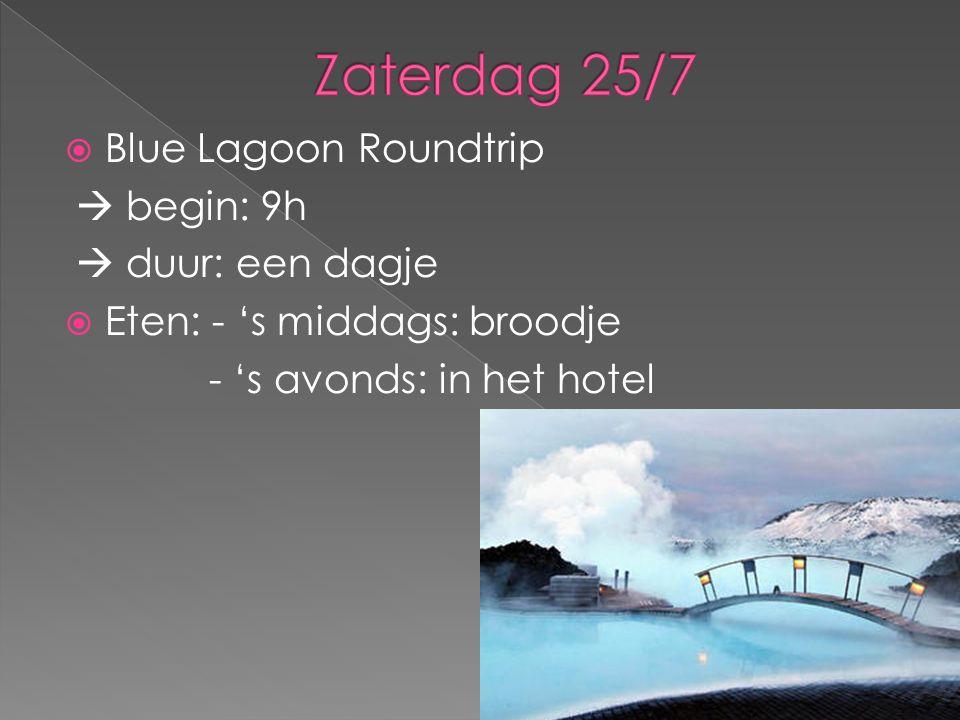  Blue Lagoon Roundtrip  begin: 9h  duur: een dagje  Eten: - 's middags: broodje - 's avonds: in het hotel
