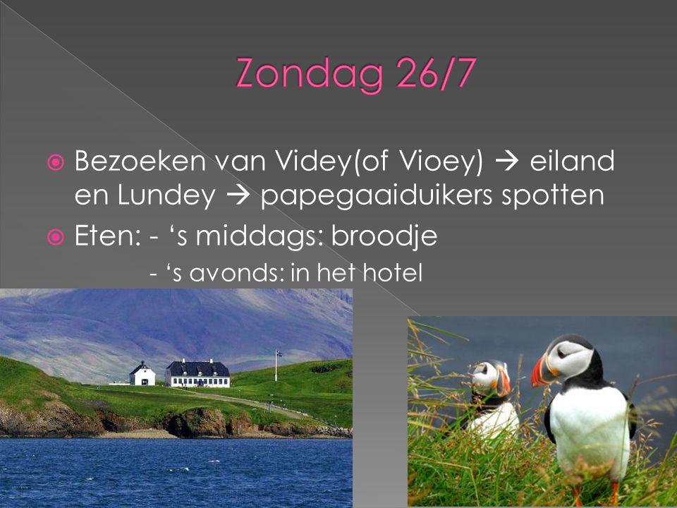  Bezoeken van Videy(of Vioey)  eiland en Lundey  papegaaiduikers spotten  Eten: - 's middags: broodje - 's avonds: in het hotel