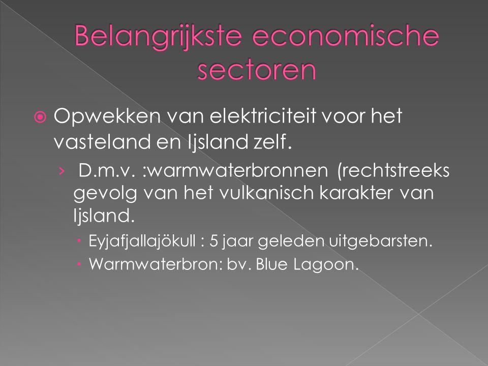  Opwekken van elektriciteit voor het vasteland en Ijsland zelf.