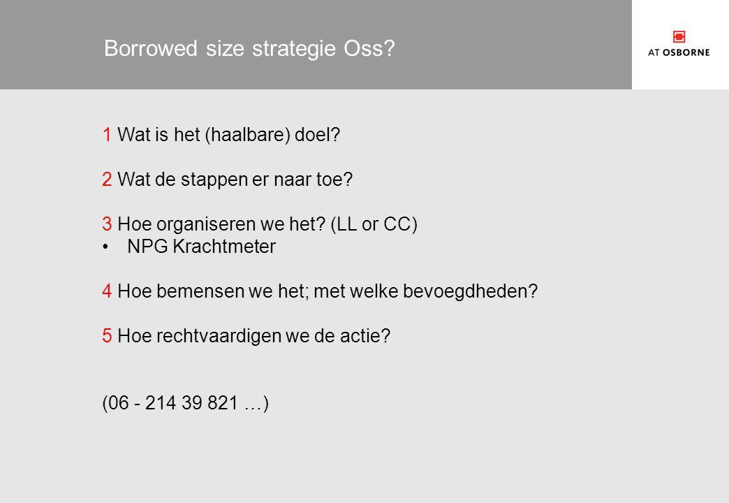 Borrowed size strategie Oss? 1 Wat is het (haalbare) doel? 2 Wat de stappen er naar toe? 3 Hoe organiseren we het? (LL or CC) NPG Krachtmeter 4 Hoe be
