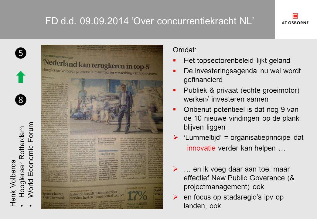 FD d.d. 09.09.2014 'Over concurrentiekracht NL' Omdat:  Het topsectorenbeleid lijkt geland  De investeringsagenda nu wel wordt gefinancierd  Publie