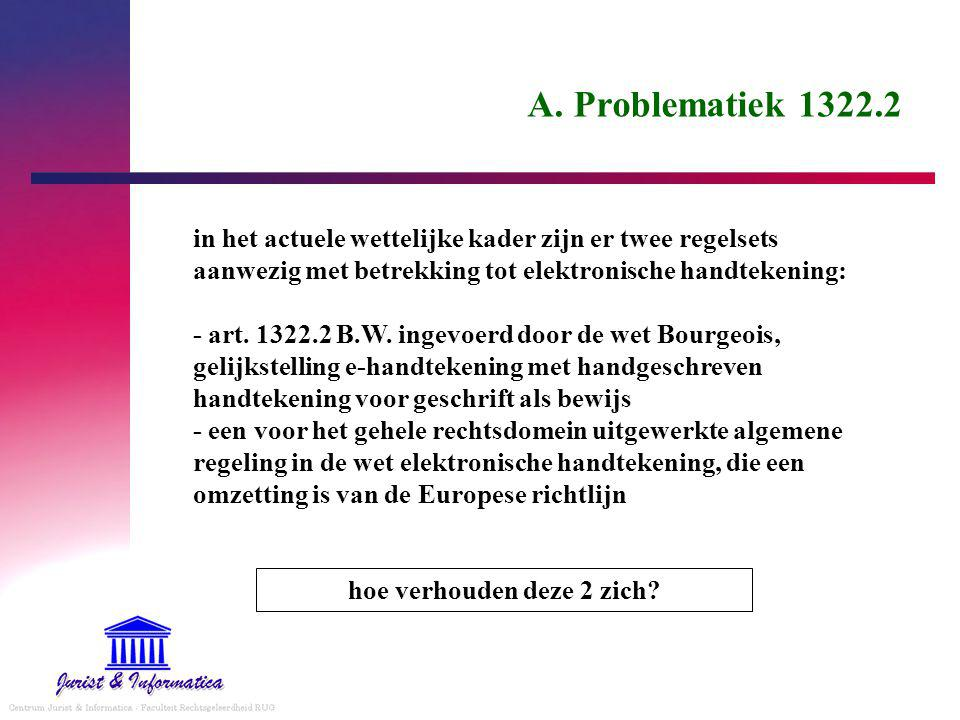 A. Problematiek 1322.2 in het actuele wettelijke kader zijn er twee regelsets aanwezig met betrekking tot elektronische handtekening: - art. 1322.2 B.