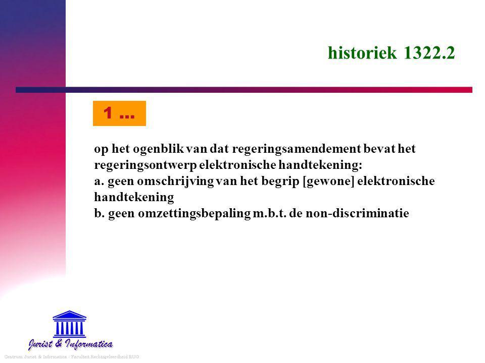 historiek 1322.2 op het ogenblik van dat regeringsamendement bevat het regeringsontwerp elektronische handtekening: a.