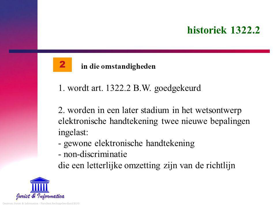 historiek 1322.2 1.wordt art. 1322.2 B.W. goedgekeurd 2.