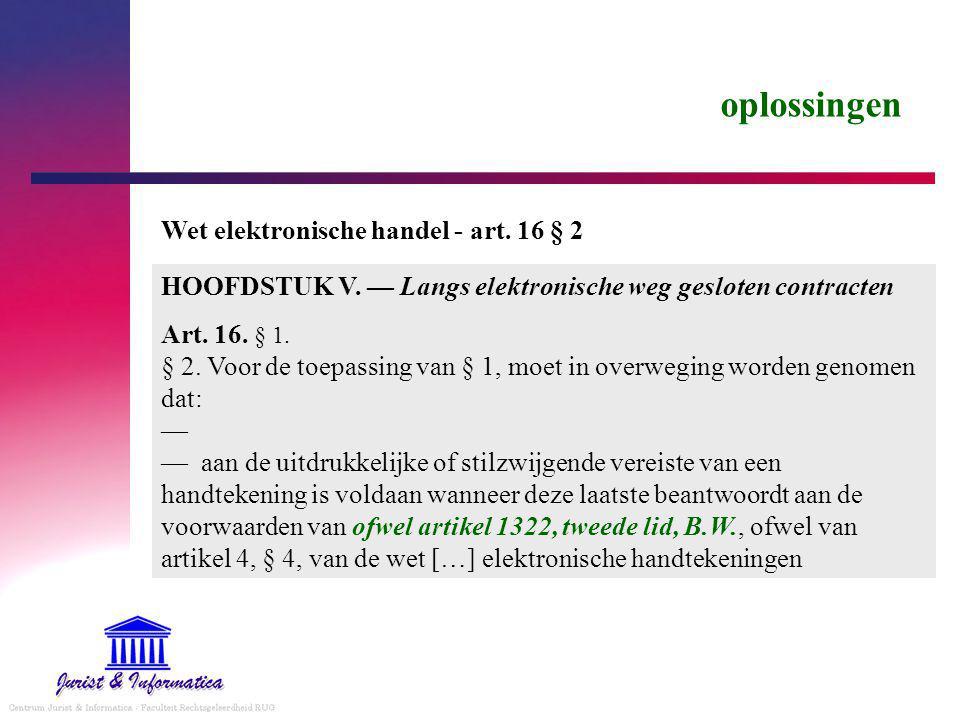 oplossingen HOOFDSTUK V.— Langs elektronische weg gesloten contracten Art.