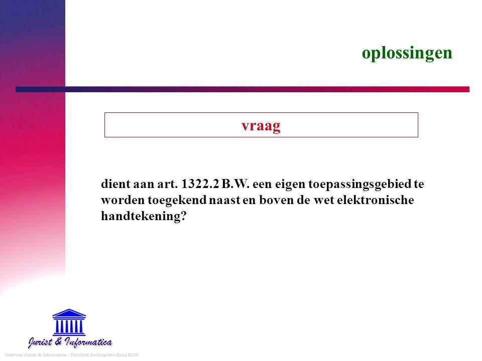 oplossingen dient aan art.1322.2 B.W.
