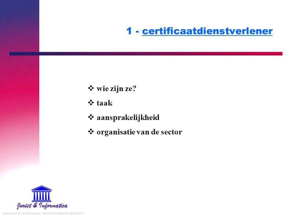 1 - certificaatdienstverlener  wie zijn ze?  taak  aansprakelijkheid  organisatie van de sector