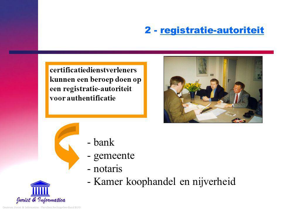 2 - registratie-autoriteit - bank - gemeente - notaris - Kamer koophandel en nijverheid certificatiedienstverleners kunnen een beroep doen op een registratie-autoriteit voor authentificatie