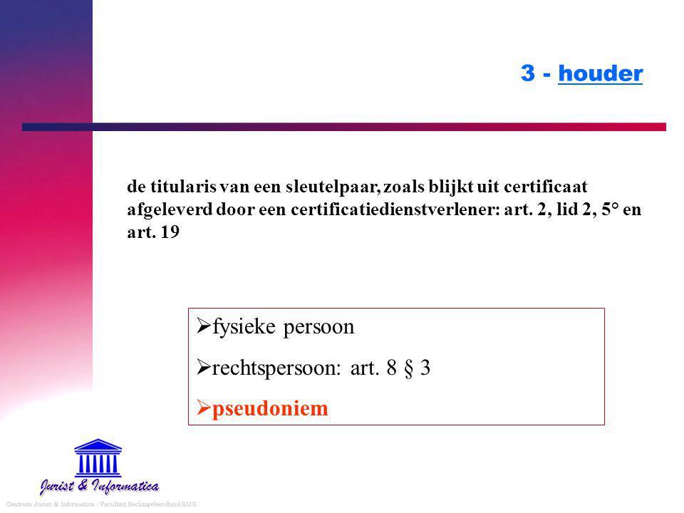 3 - houder de titularis van een sleutelpaar, zoals blijkt uit certificaat afgeleverd door een certificatiedienstverlener: art.