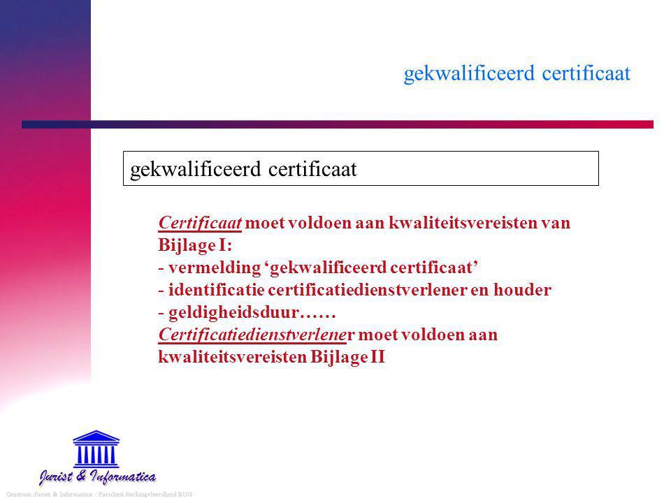 gekwalificeerd certificaat Certificaat moet voldoen aan kwaliteitsvereisten van Bijlage I: - vermelding 'gekwalificeerd certificaat' - identificatie certificatiedienstverlener en houder - geldigheidsduur…… Certificatiedienstverlener moet voldoen aan kwaliteitsvereisten Bijlage II