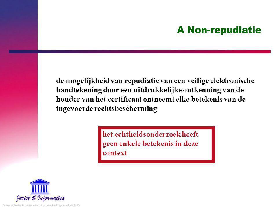 A Non-repudiatie de mogelijkheid van repudiatie van een veilige elektronische handtekening door een uitdrukkelijke ontkenning van de houder van het certificaat ontneemt elke betekenis van de ingevoerde rechtsbescherming het echtheidsonderzoek heeft geen enkele betekenis in deze context