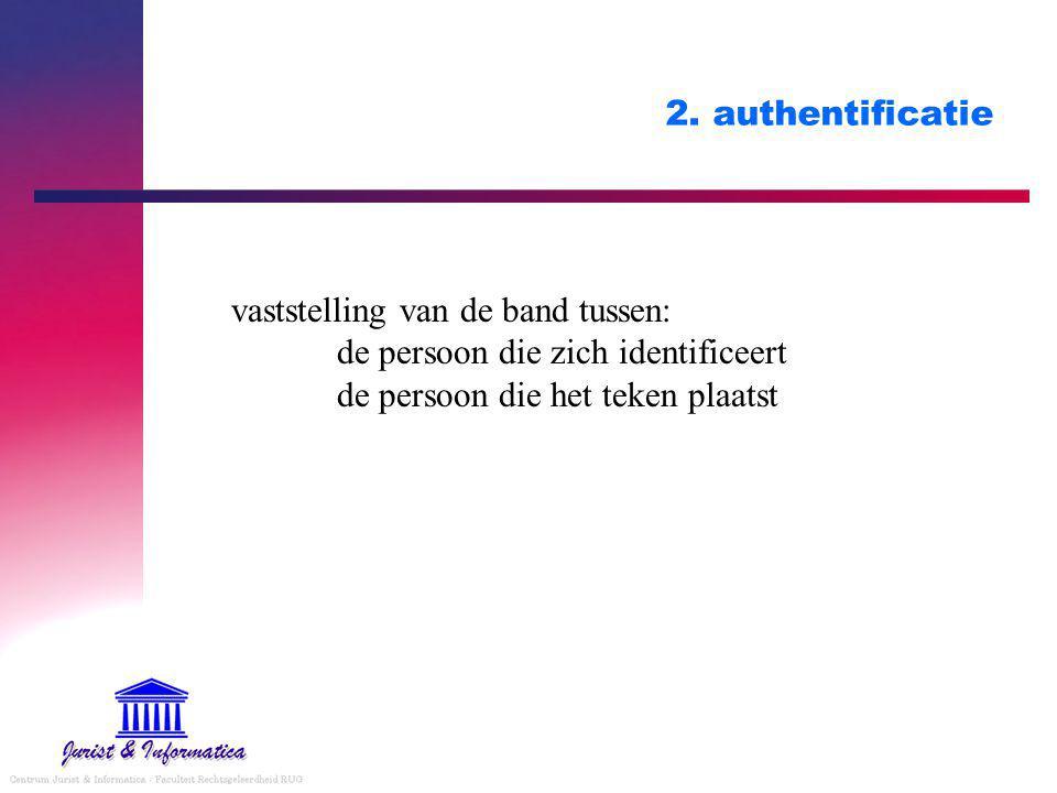 2. authentificatie vaststelling van de band tussen: de persoon die zich identificeert de persoon die het teken plaatst