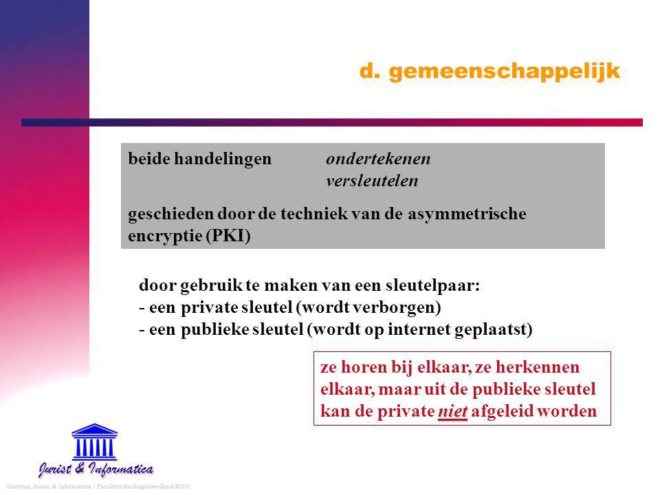 d. gemeenschappelijk beide handelingenondertekenen versleutelen geschieden door de techniek van de asymmetrische encryptie (PKI) door gebruik te maken