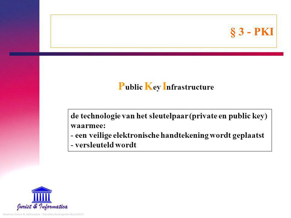 § 3 - PKI P ublic K ey I nfrastructure de technologie van het sleutelpaar (private en public key) waarmee: - een veilige elektronische handtekening wordt geplaatst - versleuteld wordt