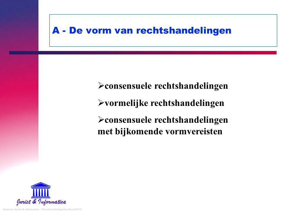 A - De vorm van rechtshandelingen  consensuele rechtshandelingen  vormelijke rechtshandelingen  consensuele rechtshandelingen met bijkomende vormvereisten