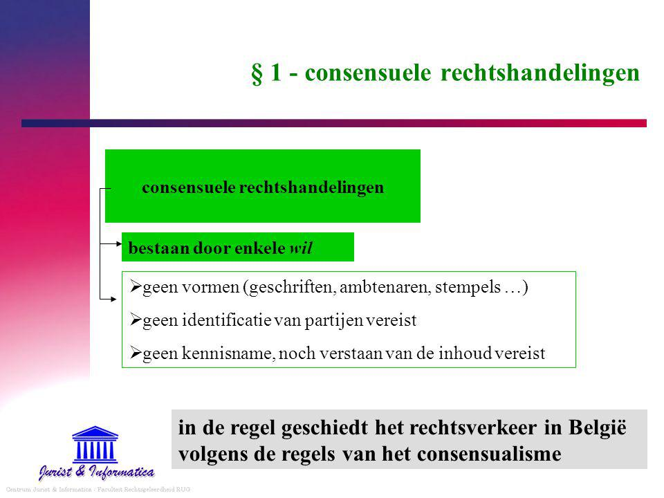 § 1 - consensuele rechtshandelingen consensuele rechtshandelingen  geen vormen (geschriften, ambtenaren, stempels …)  geen identificatie van partijen vereist  geen kennisname, noch verstaan van de inhoud vereist bestaan door enkele wil in de regel geschiedt het rechtsverkeer in België volgens de regels van het consensualisme