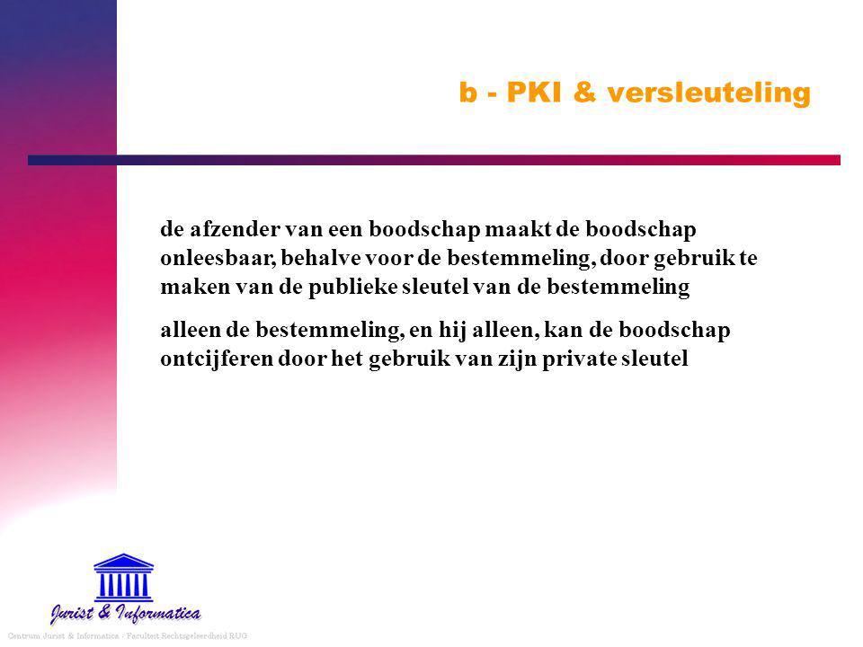 b - PKI & versleuteling de afzender van een boodschap maakt de boodschap onleesbaar, behalve voor de bestemmeling, door gebruik te maken van de publieke sleutel van de bestemmeling alleen de bestemmeling, en hij alleen, kan de boodschap ontcijferen door het gebruik van zijn private sleutel