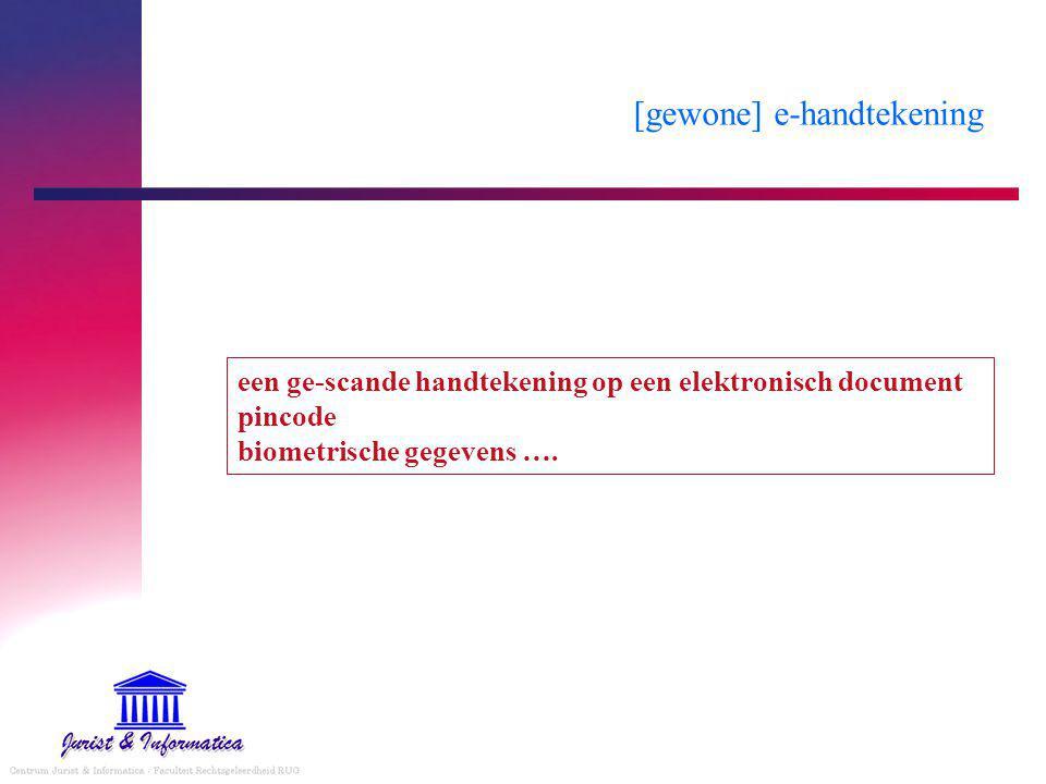 [gewone] e-handtekening een ge-scande handtekening op een elektronisch document pincode biometrische gegevens ….