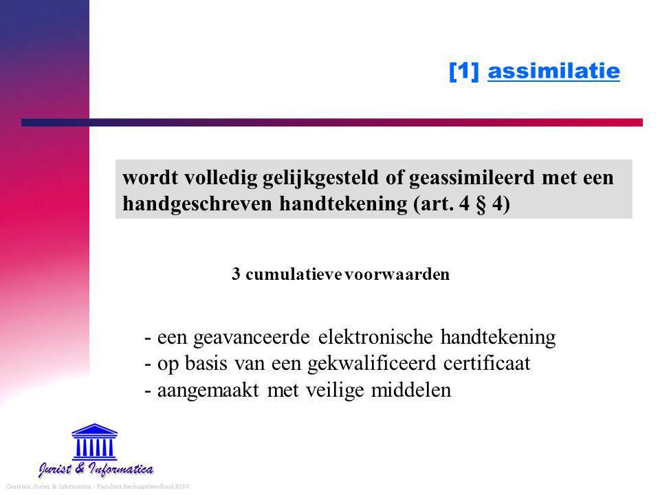 [1] assimilatie - een geavanceerde elektronische handtekening - op basis van een gekwalificeerd certificaat - aangemaakt met veilige middelen wordt volledig gelijkgesteld of geassimileerd met een handgeschreven handtekening (art.