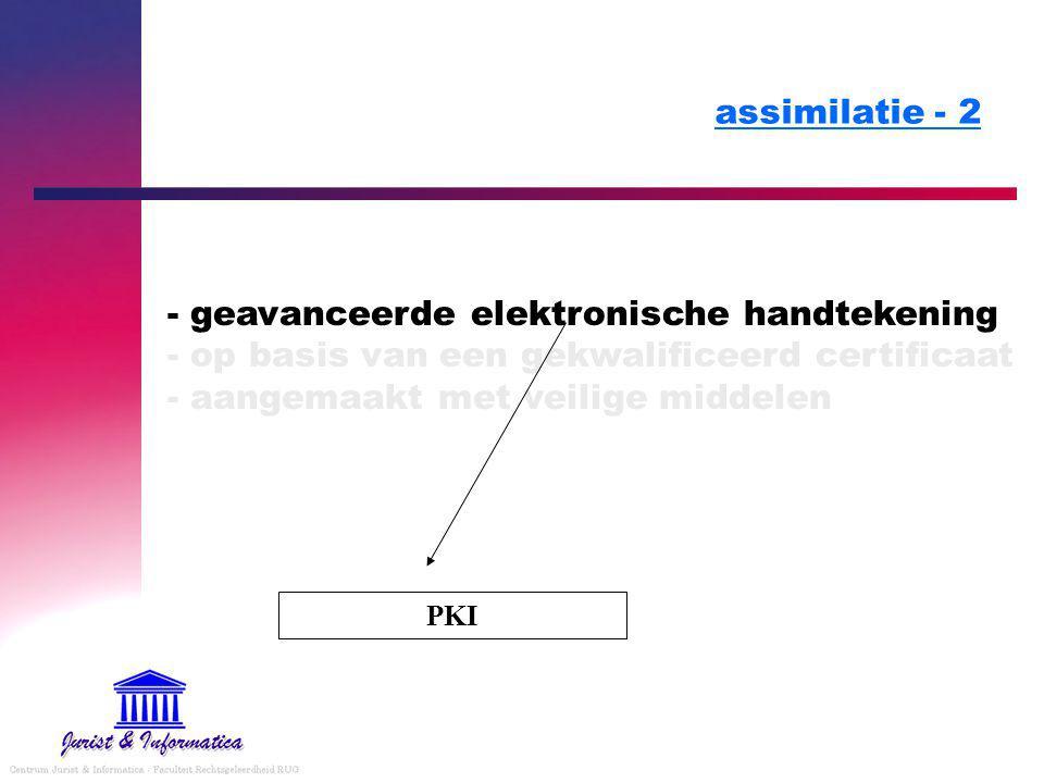 assimilatie - 2 - geavanceerde elektronische handtekening - op basis van een gekwalificeerd certificaat - aangemaakt met veilige middelen PKI