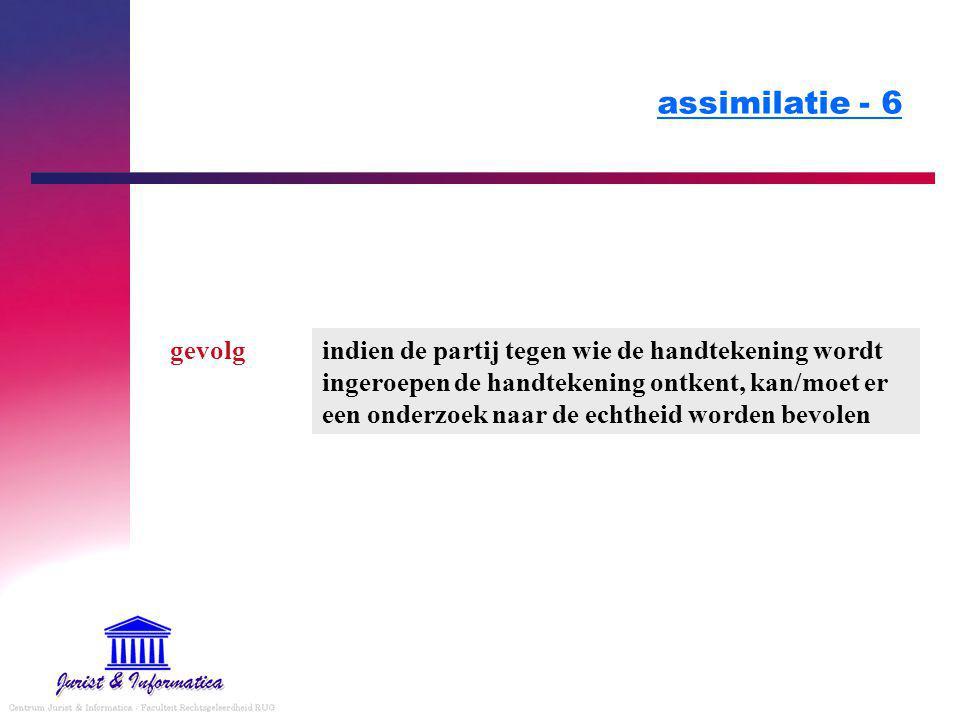 assimilatie - 6 indien de partij tegen wie de handtekening wordt ingeroepen de handtekening ontkent, kan/moet er een onderzoek naar de echtheid worden bevolen gevolg